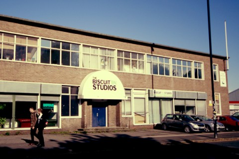 Exterior photo of The Biscuit Tin Studios
