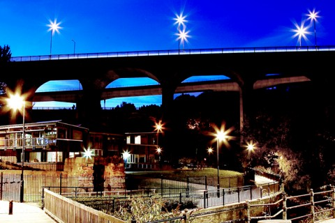 The Ouseburn by night, location for the BBC 6 Music Festival