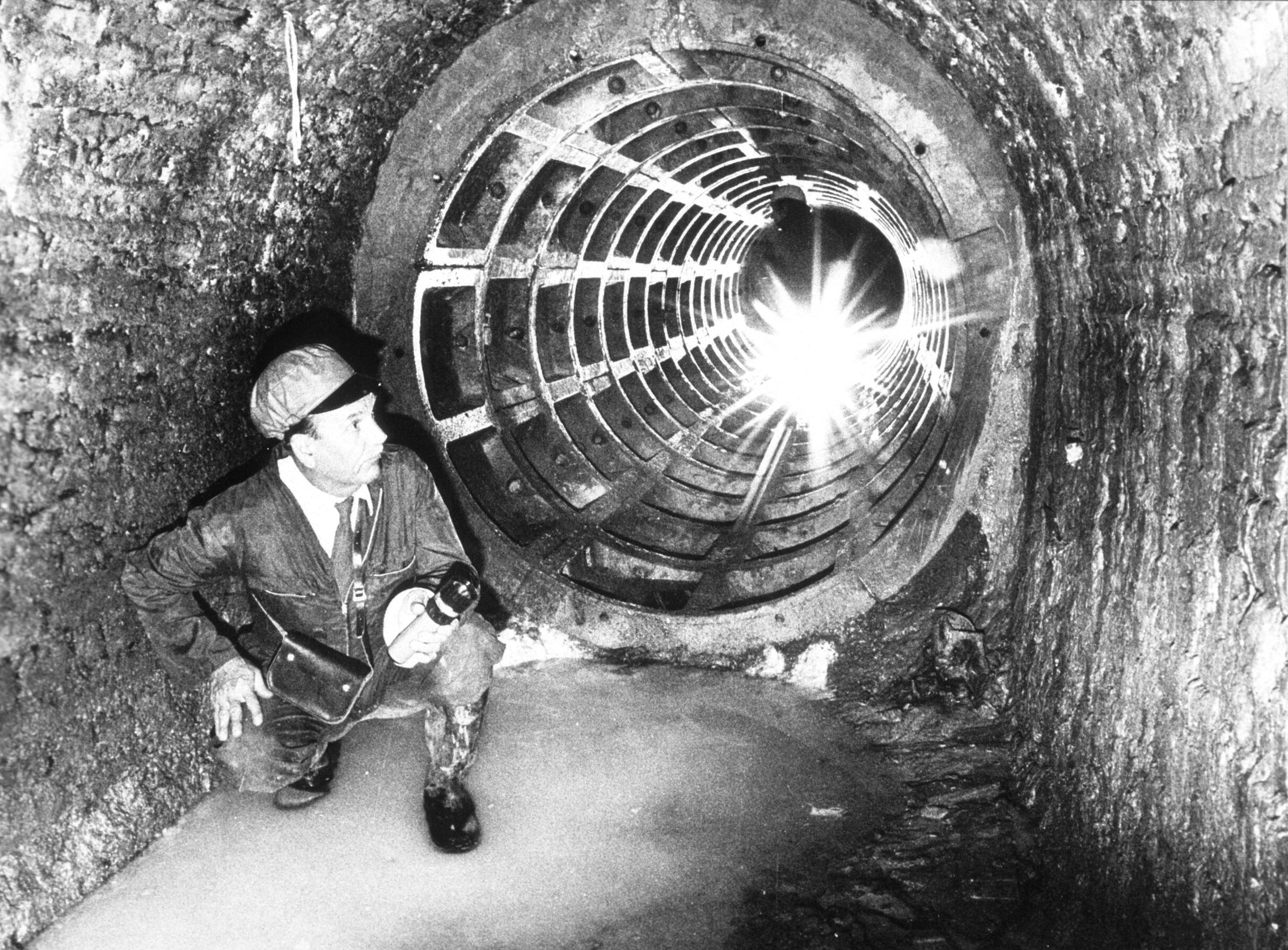 Archive image of worker in the Victoria Tunnel