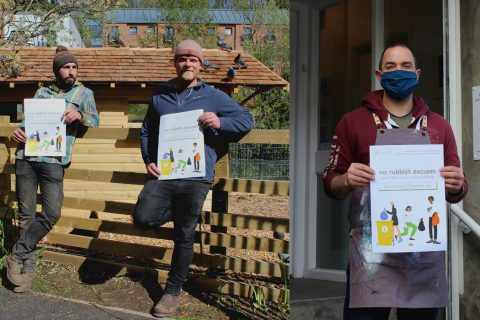 Ouseburn Farm staff and Jim Edwards hold up Keep Ouseburn Tidy posters