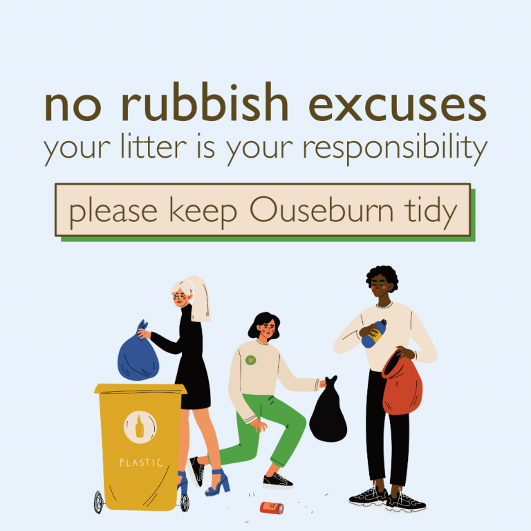 Graphic states no rubbish excuses your litter is your responsibility keep ouseburn tidy